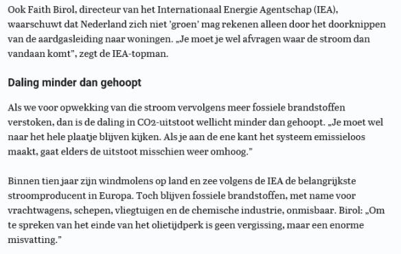 Fatih Birol in Telegraaf 16 nov 2018