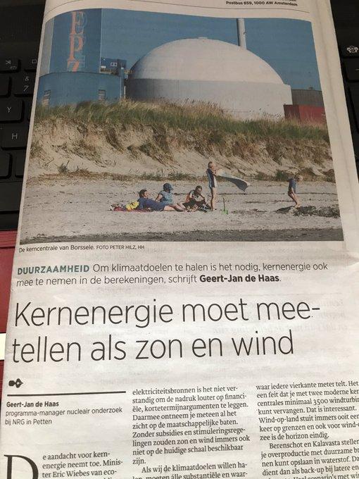 ingezonden stuk GJ de Haas in Trouw over kernenergie vs windenergie